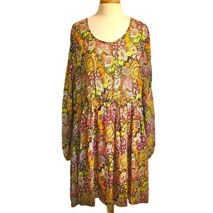 Umgee Boho Short Dress with Slits in Sleeves